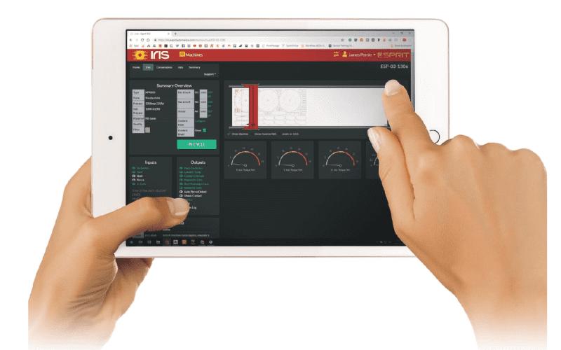Vue de la coupe en direct avec le logiciel IRIS d'Esprit Automation