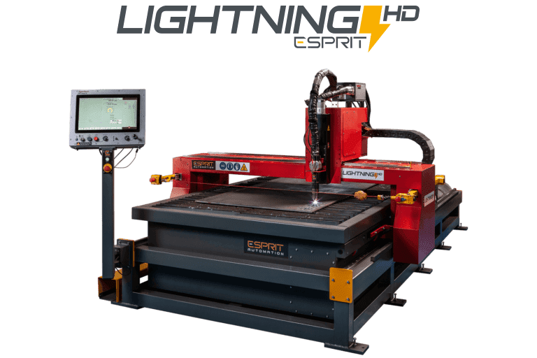 Machine de découpe plasma Lightning HD CNC d'Esprit Automation ltd à fond transparent