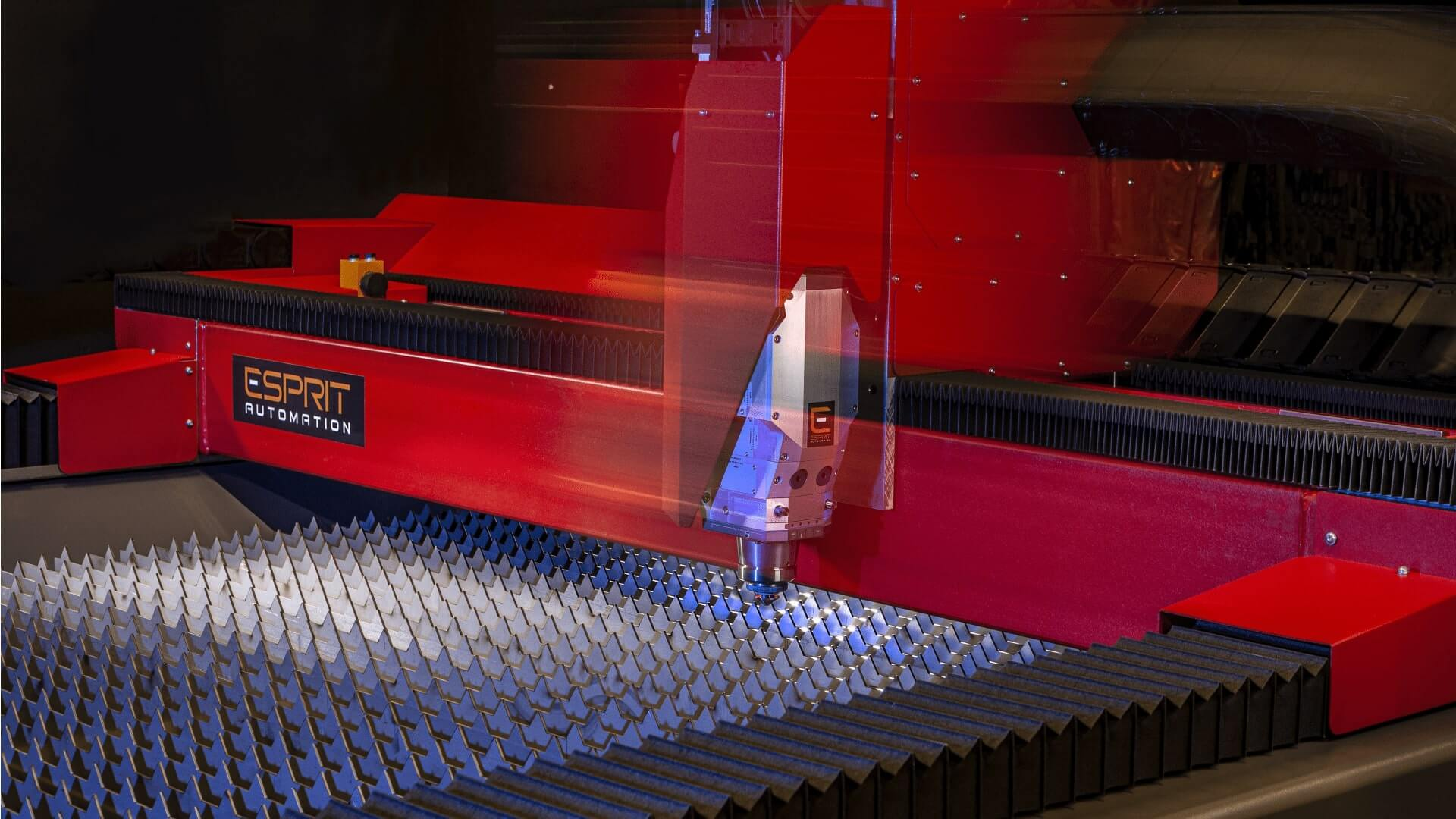 Esprit Automation Fiber Laser Cutting Head Moving at High Speed