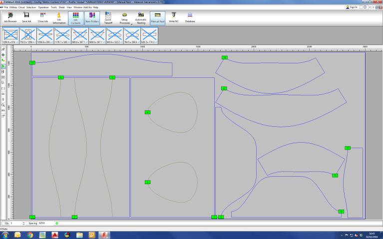 Screenshot of CAMduct fabrication software highlighting the improved nesting module