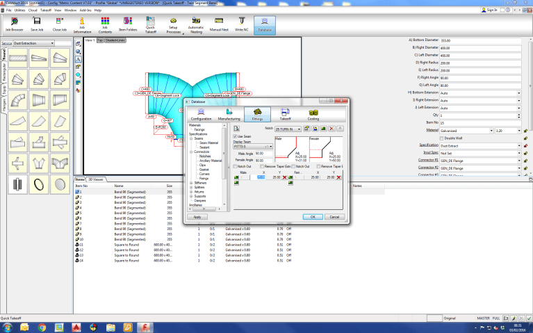 Screenshot of CAMduct Fabrication Software showing the extra materials needed on a sheet