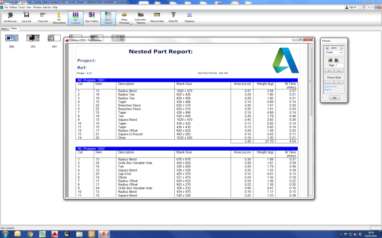 Screenshot of CAMduct Fabrication software example of a parts report
