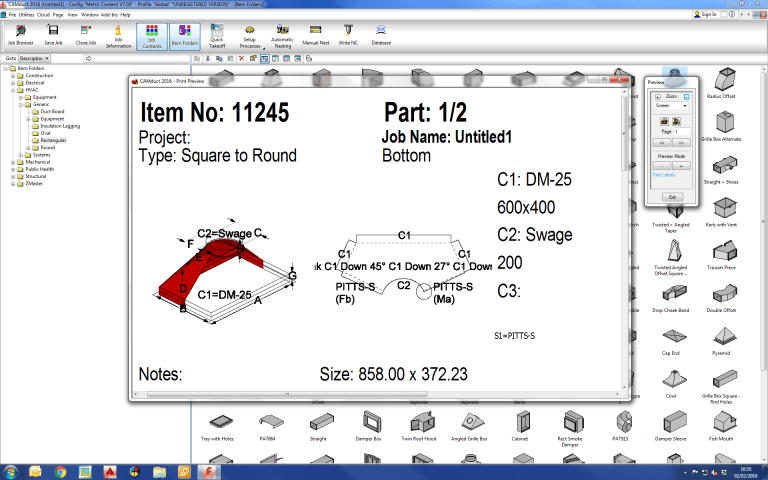 Screenshot of CAMduct fabrication software that shows how labeling help looks like