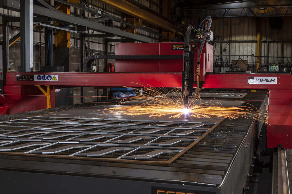 Esprit Automation Viper HD Plasma Cutter cutting carbon steel at Allan Liddle Steel