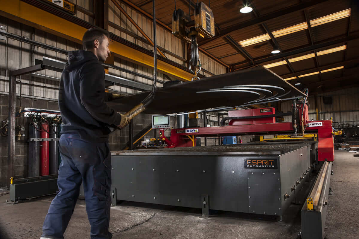 Esprit Automation Viper HD Plasma Cutter being operated by an operator at Allan Liddle Steel