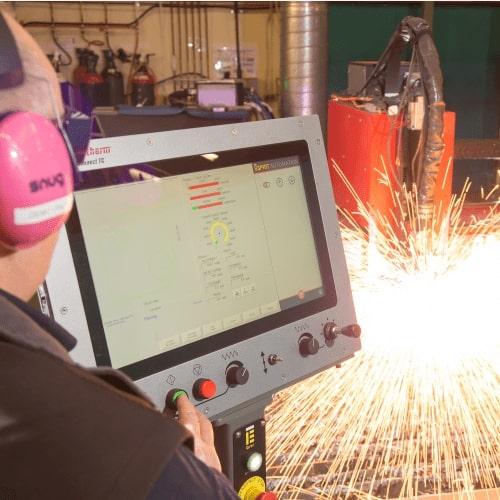 Esprit Automation ltd CNC plasma cutting machine in action