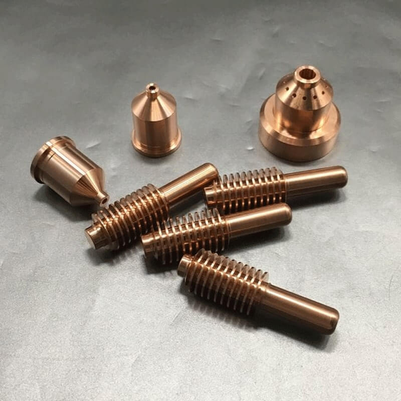 Hypertherm Consumables for a CNC Plasma Cutter on a Grey Surface