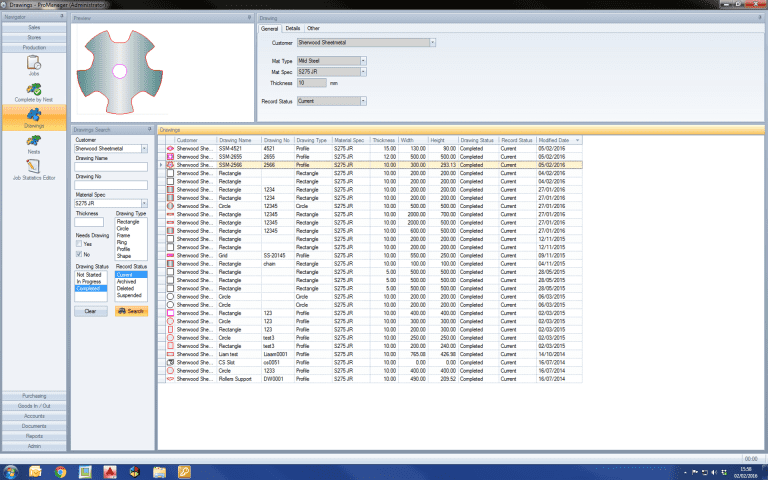 Screenshot of the ProManager Software from Esprit Automation showing the drawing module