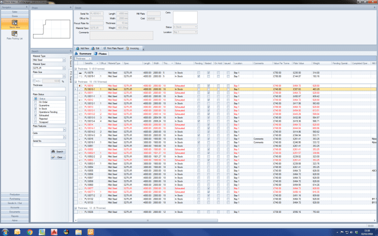 Screenshot of the ProManager Software from Esprit Automation showing the order module