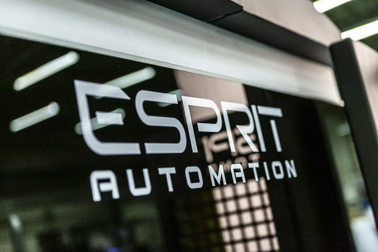 Esprit Automation Logo on the Photon Fiber Laser Cutting Machine